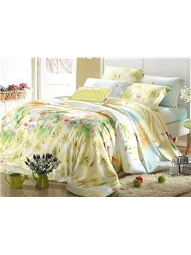High Quality Light Yellow 4 Pieces Tencel Bedding Sets