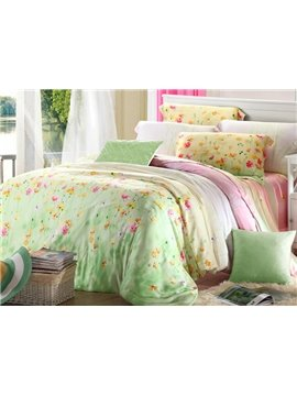 High Quality Princess Style Floral Patterns 4 Pieces Tencel Bedding Sets