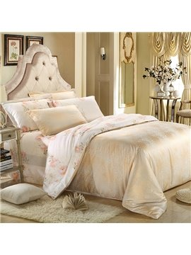 High Quality Beige Color Print 4 Pieces Summer Bedding Sets