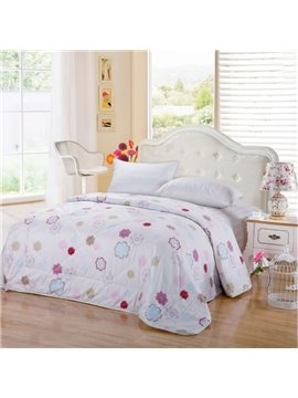 New Arrival Delicate Colorful Flowers Print Cotton Summer Quilts