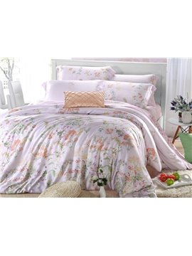 High Quality Soft Beautiful Floral Patterns 4 Pieces Tencel Bedding Sets