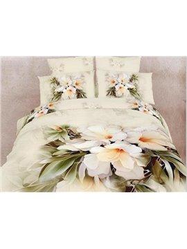 Top Class Beautiful White Flowers Print 4 Piece 3D Duvet Cover Sets