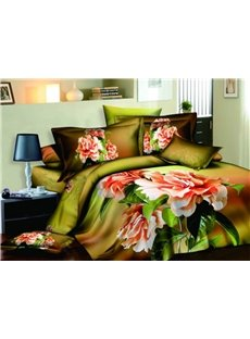 New Arrival Dark Green Flowers Printed 4 Piece Cotton Bedding Sets