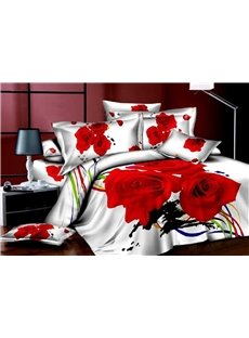 Red Roses and Colored Ribbon Print 3D Duvet Cover Sets