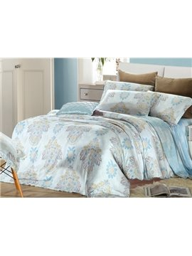 High Quality Comfortable Elegant Floral Patterns 4 Pieces Tencel Bedding Sets