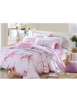 High Quality Charming Floral Patterns 4 Pieces Tencel Bedding Sets