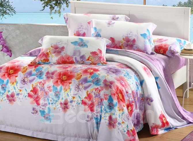 Comfortable Amazing Floral Patterns 4 Pieces Tencel Bedding Sets
