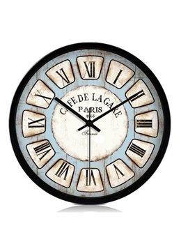 European Style Retro Roman Numerals Metal Wall Clock