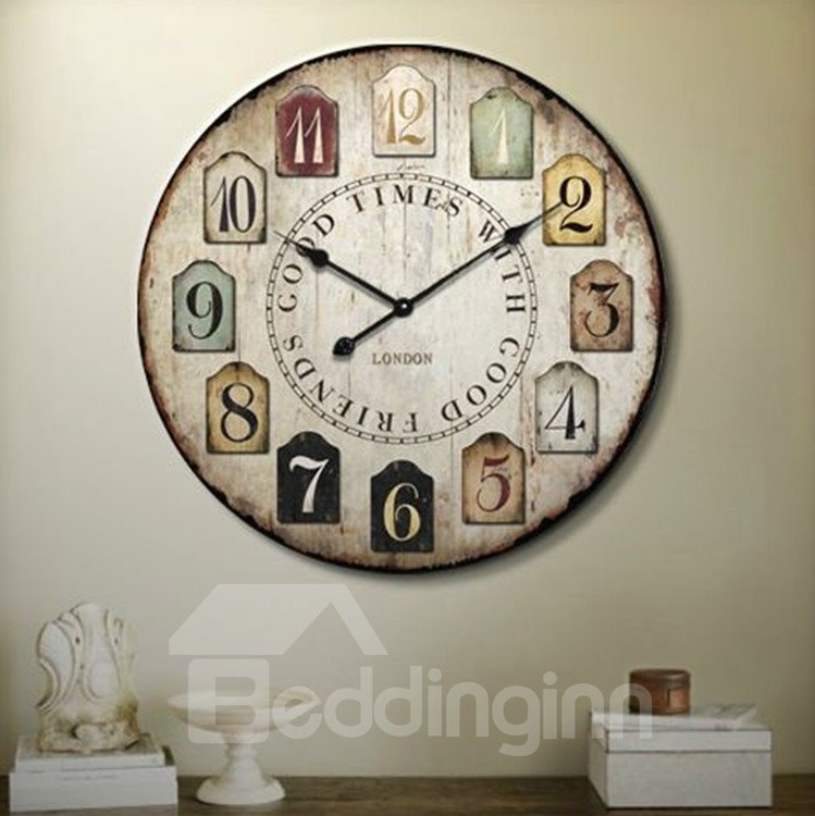 Elegant Pastoral Style Retro Creative Wood Wall Clock