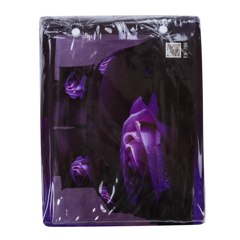 Attractive Dewy Rose 3D Printed Purple 4-Piece Cotton Duvet Cover Sets