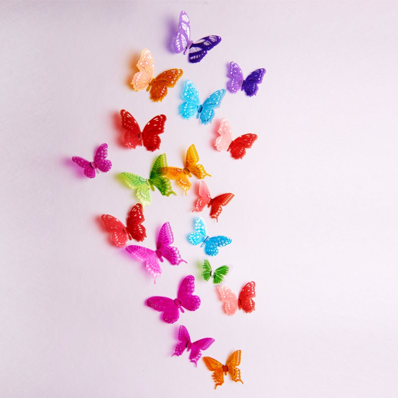 Fantastic Beautiful Butterflies Shape 18-piece 3D Wall Stickers