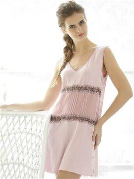 High Quality Gracious Lace Trim V-neckline Loungewear
