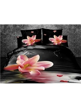 Pink Magnolia on Warter with Black Background Print 3D Bedding Sets