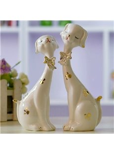 Hot Selling Cute Ceramic One Pairs of Plum Blossom Dogs Ornaments