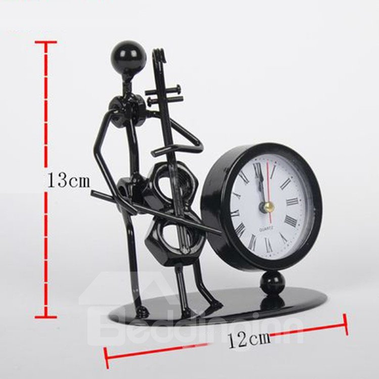 New Style Iron Man Playing the Cello Design Table Clock