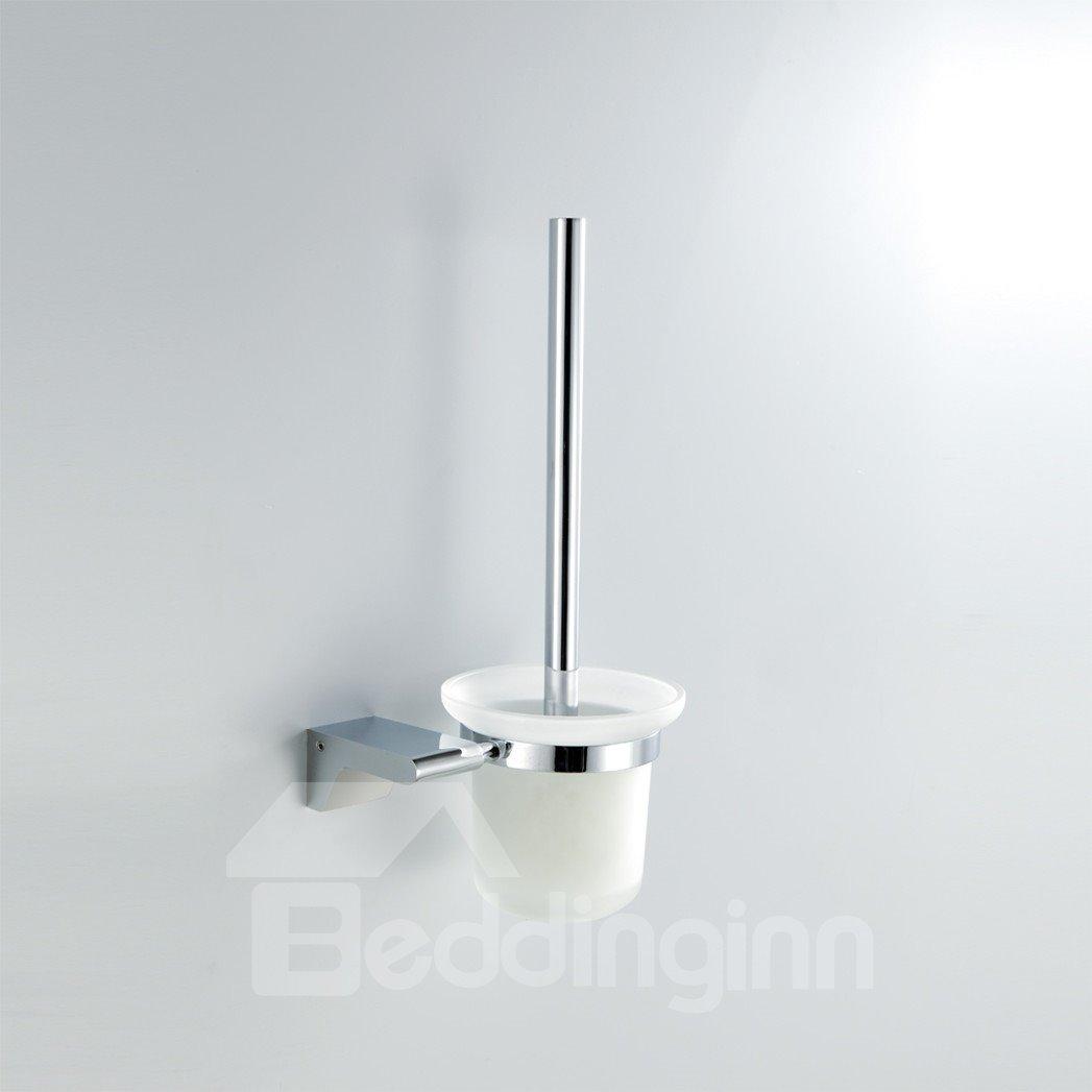 Chrome Finish Contemporary Style Brass Toilet Brush Holder