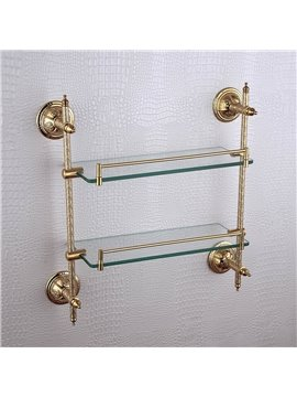 Double layer glass bracket,Brass,Golden finish
