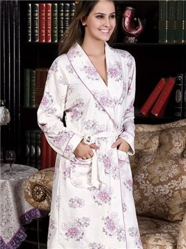 New Arrival Purple Blooming Flowers Print Full Cotton Loungewear