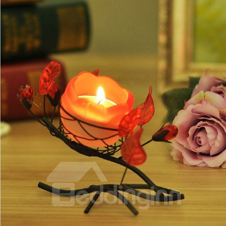 Elegant Romantic Rose Shape Iron Material Candle Holder