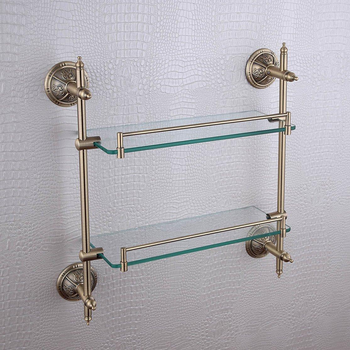 Double Layer Glass Bracket Brass Golden Finish