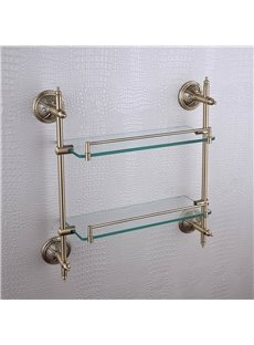 Double Layer Glass Bracket Brass Golden Finish