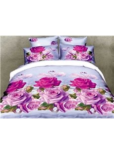Beauty Swan and Pink Roses Print 3D Duvet Cover Sets
