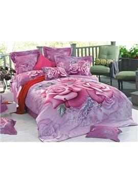 Charming Vivid Pink Roses Print 3D Duvet Cover Sets