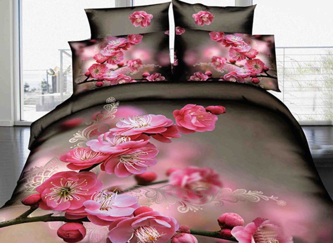 3D Pink Peach Blossom Printed Elegant Cotton 4-Piece Bedding Sets/Duvet Cover 10950454