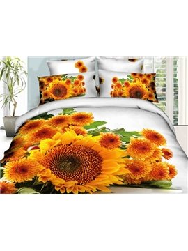 Flourishing Sunflower and Daisy Print 4-Piece 3D Duvet Cover Sets