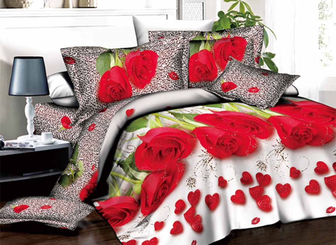 Romantic Red Roses and Heart Shape Petals Print 3D Duvet Cover Sets beddinginn