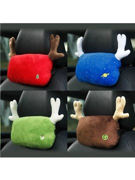 Fashion Lovely Cartoon Antlers Solid Color Car Pillow