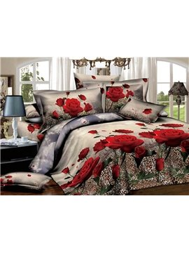 Fancy Red Rose with Leopard Print 3D Duvet Cover Sets