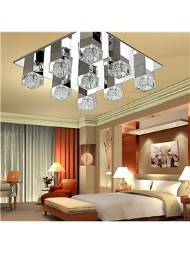 Elegant Square Shape Cryatal 12 Lights Flush Mount