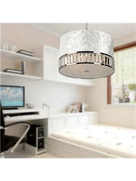 Amazing Fabric Shade Cryatal 3 Lights Pendant