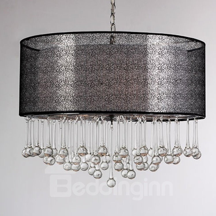 Elegant Glass Water Drops Fabric Shade 4 Lights Pendant