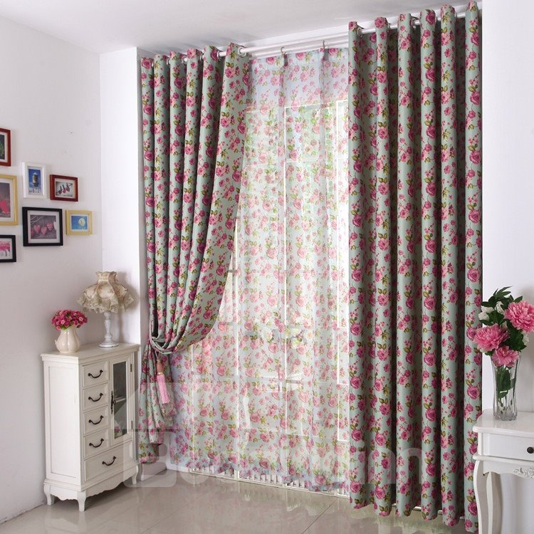 Amazing Modern Style Floral Design Grommet Top Custom Curtain