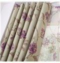 Amazing Purple Floral Patterns Grommet Top Custom Curtain