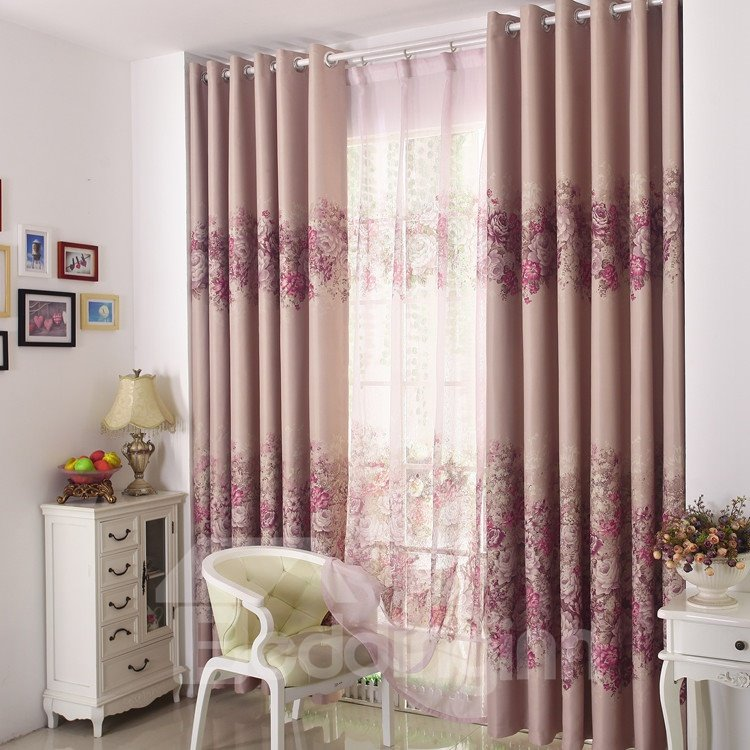 Elegant Pink Floral Patterns Design Grommet Top Custom Curtain 10951905