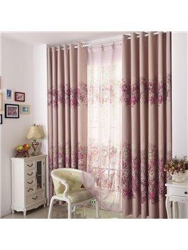 Elegant Pink Floral Patterns Design Grommet Top Custom Curtain
