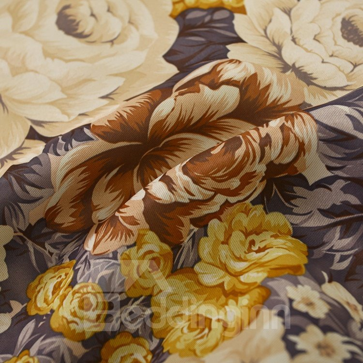Elegant Beige Floral Patterns Design Grommet Top Custom Curtain