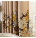 Elegant Beige Floral Patterns Design Grommet Top Custom Curtain