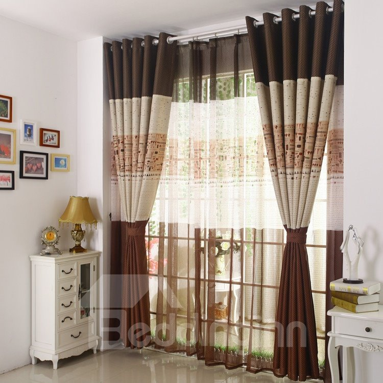 Elegant Coffee Cute Patterns Design Grommet Top Curtain