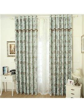 Elegant Light Blue Patterns Design Grommet Top Custom Curtain