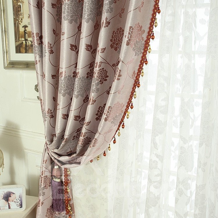 Amazing Pink Floral Patterns Design Grommet Top Custom Curtain