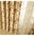 Amazing Gloden Coffee Floral Patterns Design Grommet Top Custom Curtain