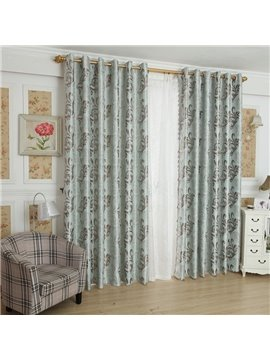 Amazing Light Blue Beautiful Patterns Design Grommet Top Curtain