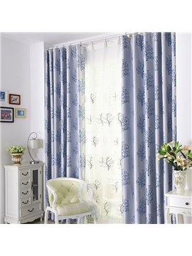 Elegant Light Blue Tree Patterns Design Grommet Top Curtain