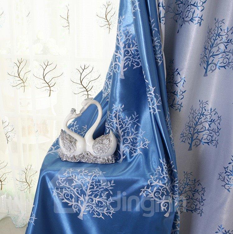 Elegant Light Blue Tree Patterns Design Grommet Top Custom Curtain