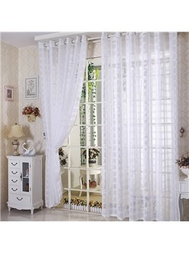 Elegant Solid Contemporary White Custom Sheer Curtain