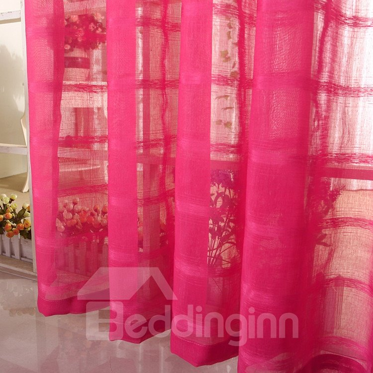 Elegant Solid Contemporary Burgundy Custom Sheer Curtain